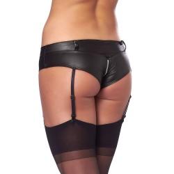 Kinky Black Wetlook Hot Pants With Stockings